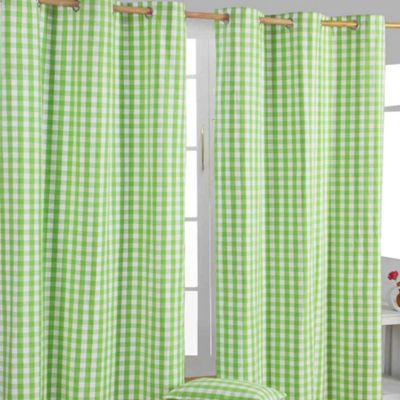 Homescapes Cotton Green Block Check Ready Made Eyelet Curtains, 117 x 137 cm