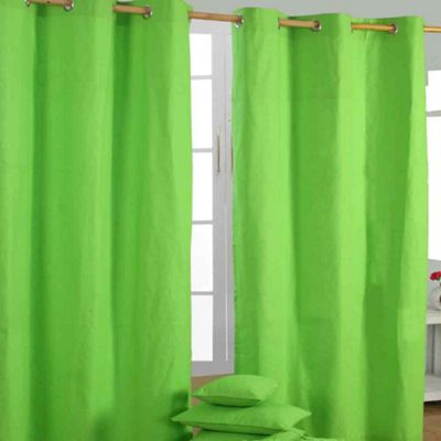 Homescapes Cotton Plain Green Ready Made Eyelet Curtain Pair, 137 x 228 cm
