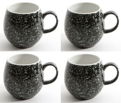 London Pottery Pebble Mug Flecked Black, Set of 4