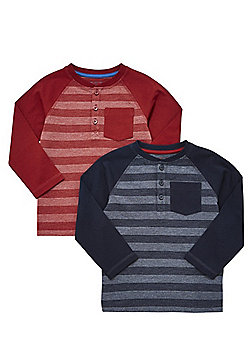 F&F 2 Pack of Striped Long Sleeve Henley T-Shirts - Navy