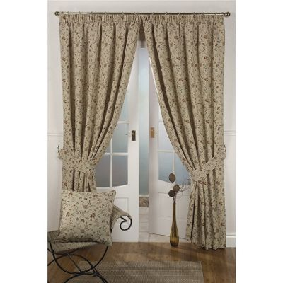 Hamilton McBride Mansfield Natural Lined Pencil Pleat Curtains - 66x90 Inches (168x229cm)