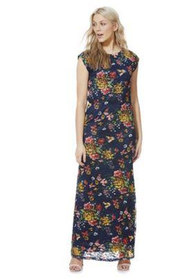 Mela London Floral Lace Maxi Dress Blue 8