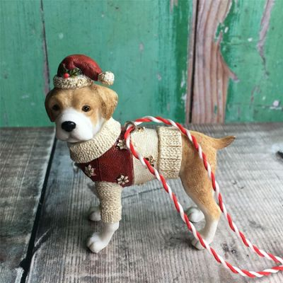 Beagle in Red Coat Dog Decoration
