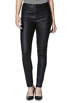 F&F Coated Mid Rise Skinny Trousers - Black