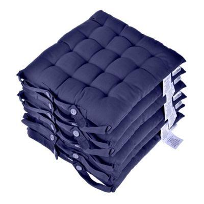 Homescapes Navy Blue Plain Seat Pad with Straps 100% Cotton 40 x 40 cm, Set of 6