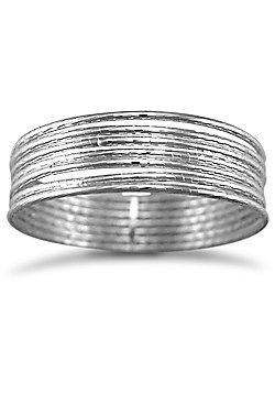 Jewelco London Sterling Silver - 7 strand D/C Slave Bangle - Bangle - Ladies