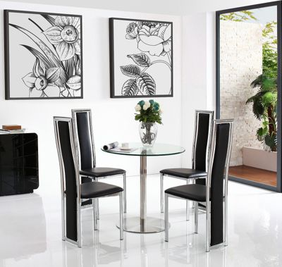 Target 2 Seater Round Glass & Stainless Steel 80 cm Dining Table with 4 Black Elsa Chairs
