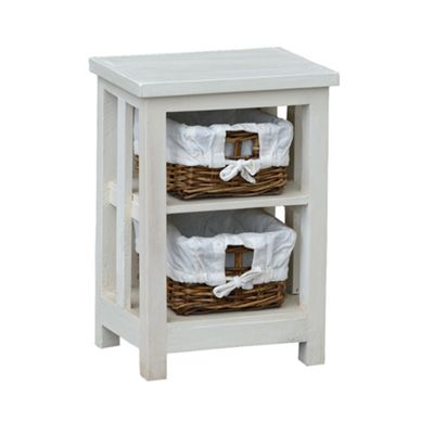 White 2 Rattan Drawer