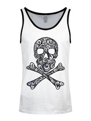 Men's Black Graphic Skull & Crossbones White & Black Ringer Vest
