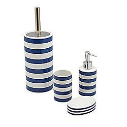 Blue And White Striped Ceramic 4 Piece Bathroom Set Including