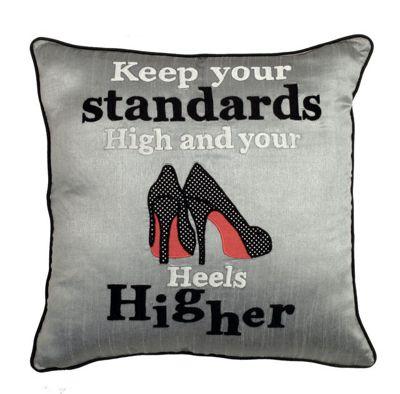 Shiny Grey Heels Higher Cushion For Sofa and Bedroom Decor