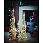Gardman Pre-lit Silver Sparkly Cone Tree - Large