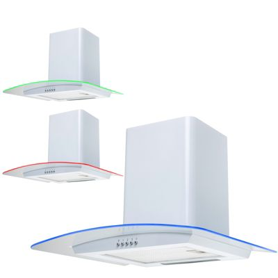 SIA CPE61WH 60cm 3 Colour LED Curved Glass White Cooker Hood Extractor Fan
