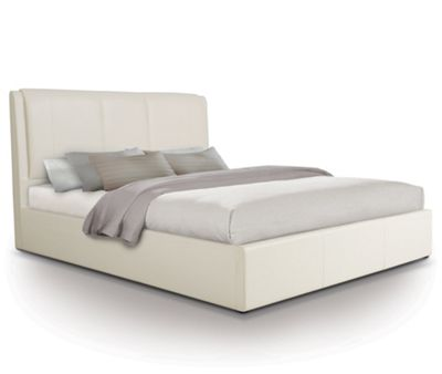 Extra Padded Ottoman Gas Lift Storage Bed Upholstered in Faux Leather - King - White