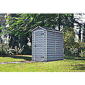 Palram Skylight Dark Grey Plastic Shed, 4x6ft