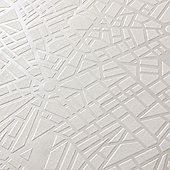 Superfresco Easy Paste The Wall Maps Geometric Shimmer White Wallpaper