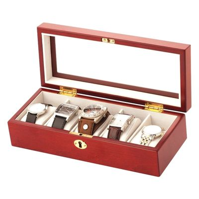 Lockable 5 Watch Box - Walnut