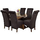 Valencia Small Oak 160cm Modern Glass Dining Set Table + 6 Black Fabric Chairs