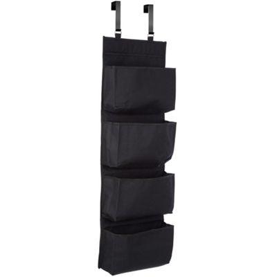 Overdoor Hanging 4 Compartment Fabric Storage Organiser - Black