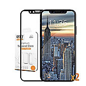Orzly Pro-Fit Tempered Glass Screen Protector for iPhone X - Black Frame