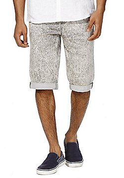 F&F Acid Wash Knitted Denim Shorts - Grey