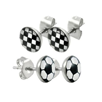 Urban Male Two Pair Set Check & Football Design Stud Earrings