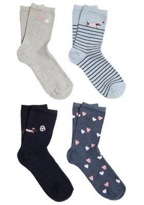 F&F 4 Pair Pack of Dachshund and Heart Ankle Socks Navy Multi S-M