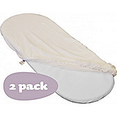 Shnuggle Moses Basket Fitted Sheets (2 Pack, Ivory) - Cream