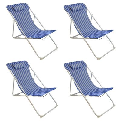 Harbour Housewares Adjustable Metal Garden Deck Chair - Blue Stripe x4