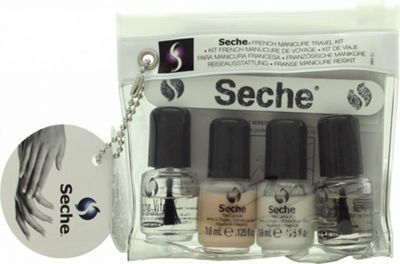 Seche Vite Seche French Manicure Travel Kit Gift Set 2 x 3.8ml Nail Polish + 3.8ml Top Coat + 3.8ml Base Coat + Nail File + Edge Guides