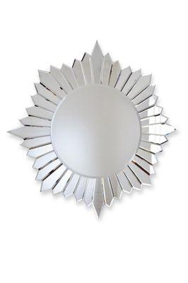 Large Modern Round Sunburst Design Venetian All Glass Wall Mirror 2Ft8 80Cm