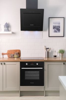 Russell Hobbs RHGCH702B, Chimney Cooker Hood, 60cm Wide Angled, Black Glass