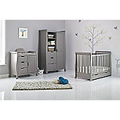 Obaby Stamford Mini Cot Bed 3 Piece Nursery Room Set - Taupe Grey