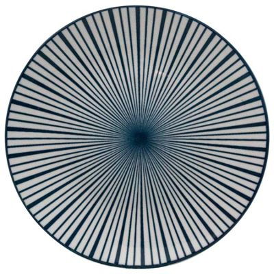 Patterned Dinner Plates Set - 265mm - White / Blue Stripe Design
