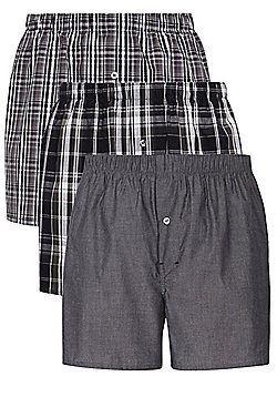 F&F 3 Pack of Checked Woven Boxer Shorts - Black