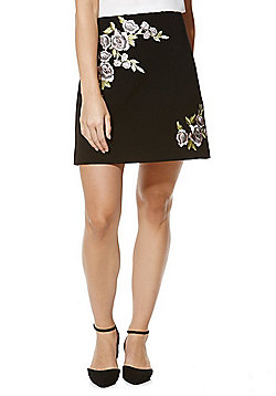 F&F Floral Appliqu© Mini Skirt - Black
