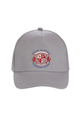 Unisex Embroidered School Cap One Size Grey
