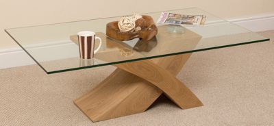 Milano Stylish Glass Coffee Table with Oak Wood X Base Frame