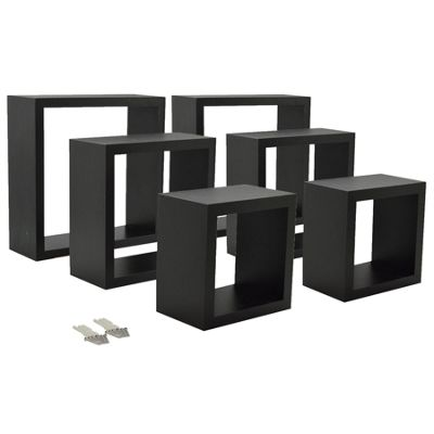 Black Square Floating Box Shelves - 3 Different Sizes - Set of 6