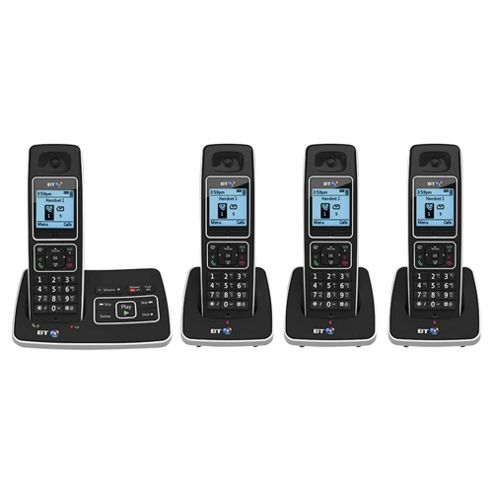BT 6500 Quad Cordless With Answer Machine Telephone , Black