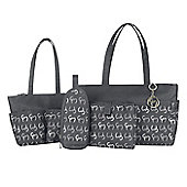 Clevamama Initials Collection Nicole Asphalt Tote Baby Changing Bag & Mat