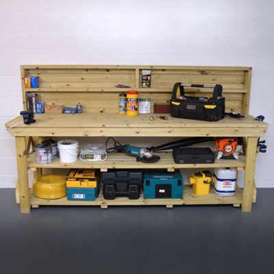 Pressure Treated Work Bench With Back Panel 7ft - With Shelf