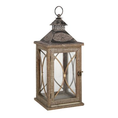 Natural Wash Fir Wood, Iron & Glass Lantern/Candle Holder - Large