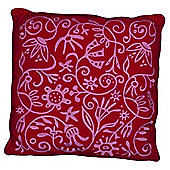 Flower Embroidered Cushion Red