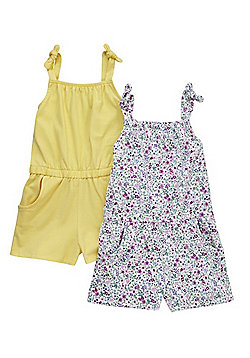 F&F 2 Pack of Floral and Plain Playsuits - Multi