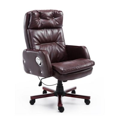 Homcom PU Leather Luxury Swivel Office Chair Adjustable Armrest Reclining Arm Seat (Brown)