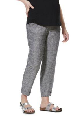 F&F Linen-Blend Under-Bump Maternity Trousers Grey 12 Short leg