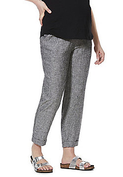F&F Linen-Blend Under-Bump Maternity Trousers - Grey