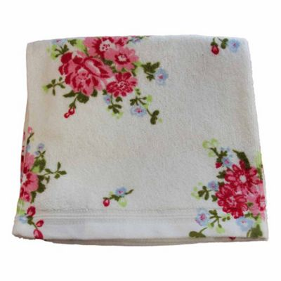 Homescapes Floral Printed White Bath Sheet 100% Cotton