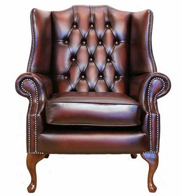Chesterfield Mallory Queen Anne High Back Wing Chair Antique Oxblood